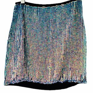 RW&Co. Black Pink Blue Sequin Skirt